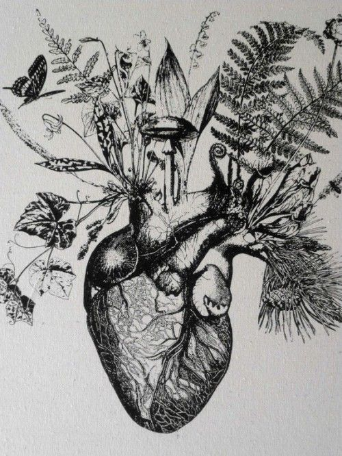 Growing Human Heart silk screened cotton canvas wall ...