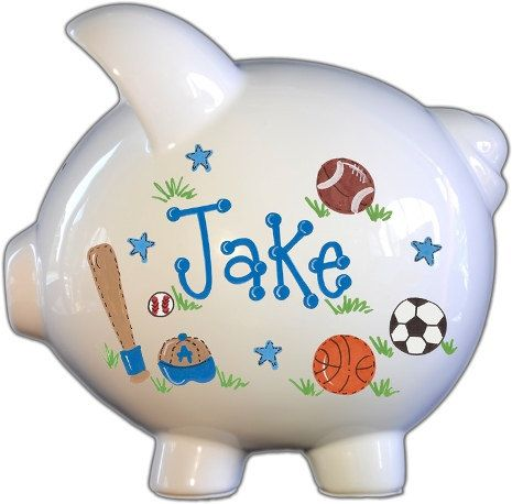 Handpainted Ceramic Large Piggy Bank with by TheSpoiledSprout