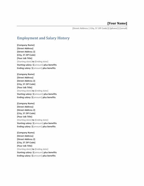 Employment and salary history list - Templates Things to - resume with salary requirements