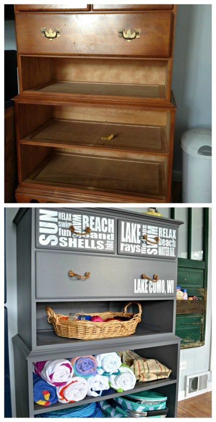 What can you do with a dresser without drawers? Create storage for beach supplies! This would be great at a lake house or beach house.