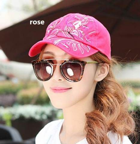 Embroidered  butterfly baseball cap for girls sun caps
