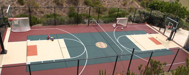 Backyard sport court enclosed full size basketball for Sport court dimensions