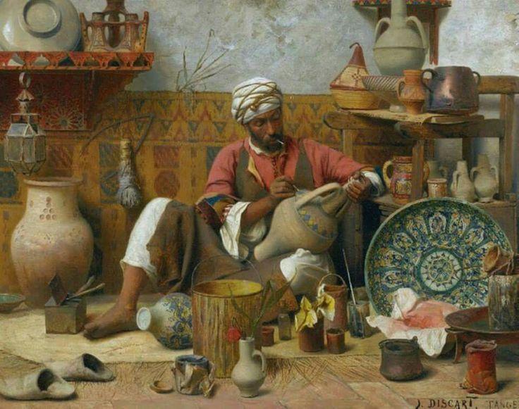 L'ATELIER DE POTERIE, TANGER  Oil on panel  DISCART Jean Baptiste, 1856-1944 (France)