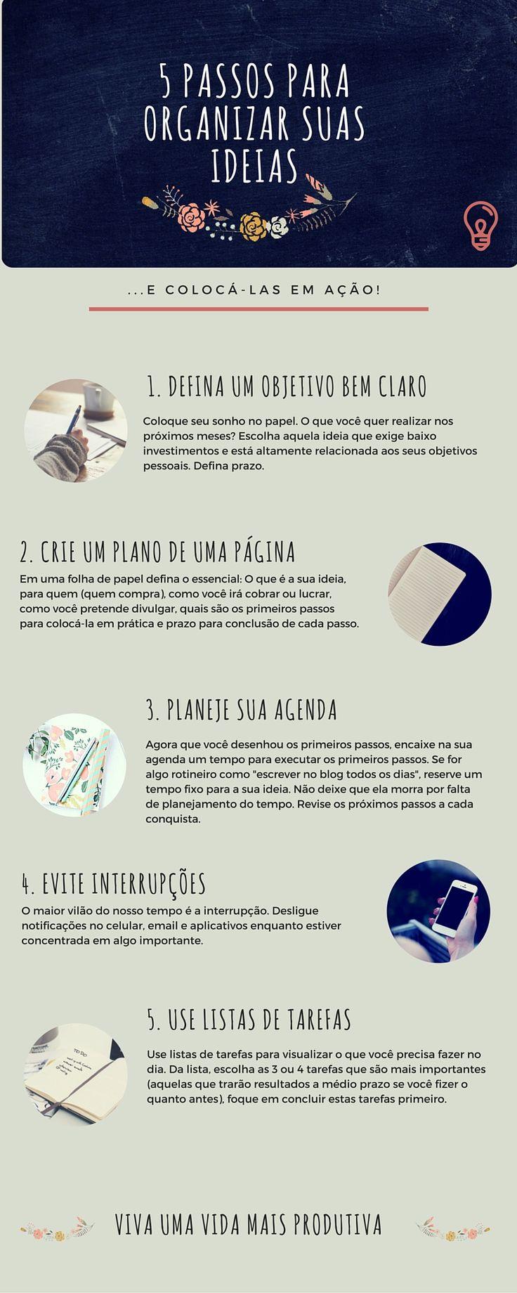 5 passos para #organizar #ideias