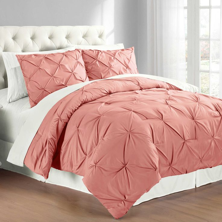 Pintuck Twin Comforter Set in Coral