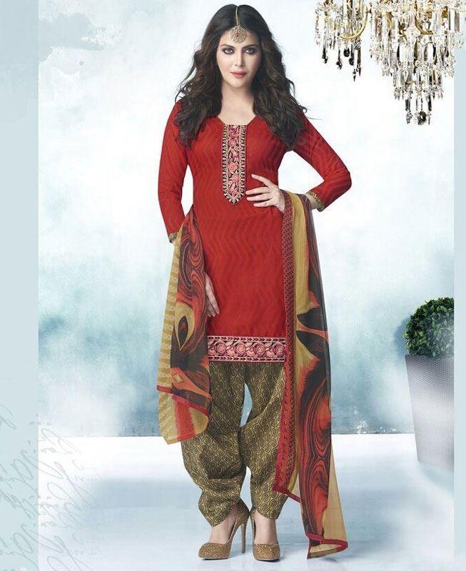 Buy Exquisite Red Patiala Salwar Kameez online at  https://www.a1designerwear.com/exquisite-red-patiala-salwar-kameez  Price: $16.38 USD