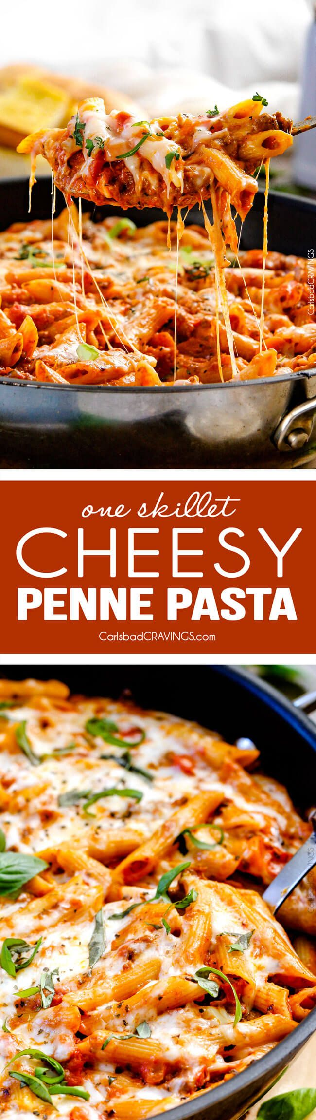 One Skillet Cheesy Penne - the best homemade ragu sauce simmered right with the pasta then loaded with cheese! My family begs me to make this weekly! via Carlsbad Cravings