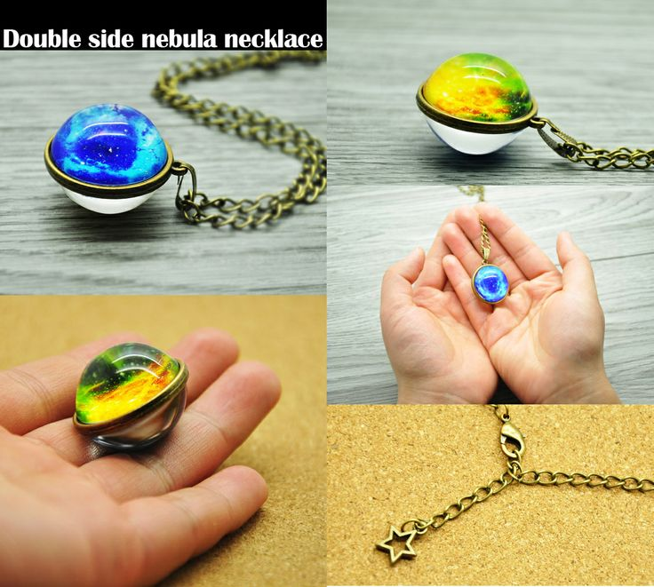 Double side nebula necklace outer space universe glass pendant science necklace Crystal ball necklace Astronomy geek Xmas gift for him