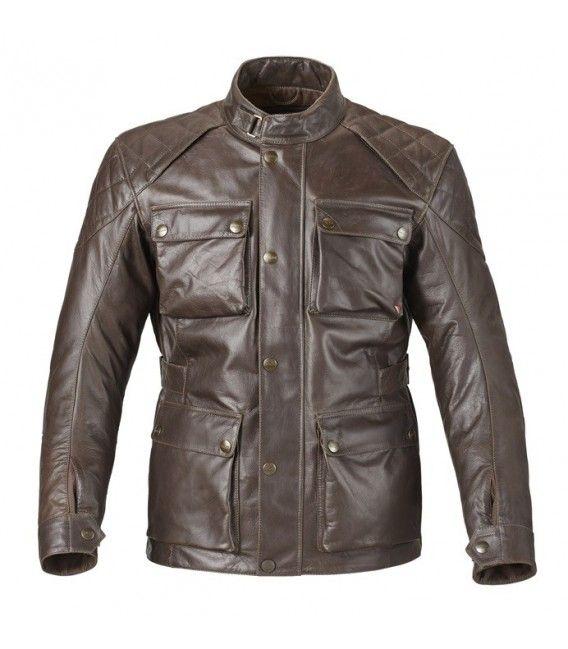 Chaqueta de cuero Beaufort:    Confeccionada en cuero de primera calidad y diseño actualizado de la típica chaqueta de motorista. Confeccionada en cuero de búfalo de primera calidad de color marrón con 0,8 mm de espesor .