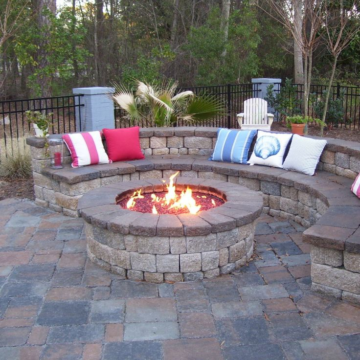A built in fire pit that is screaming for someone to make smores