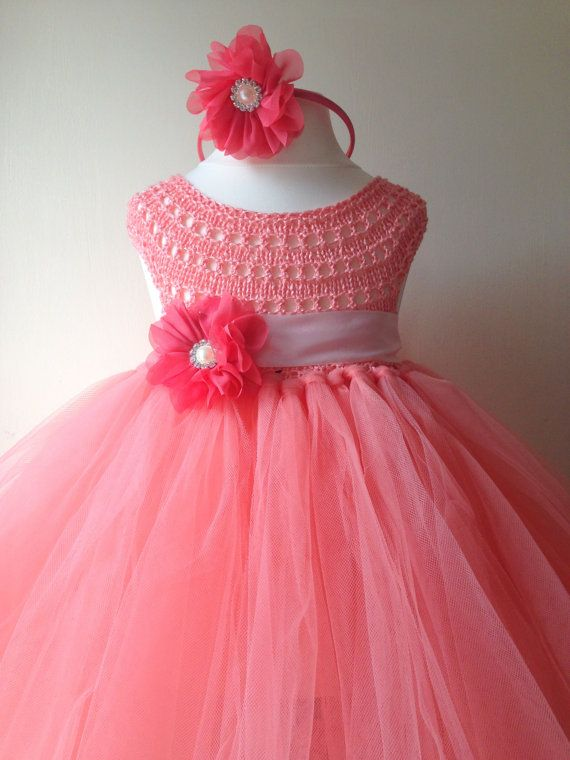 Peach Flower girl dress, tutu dress,bridesmaid dress, princess dress, crochet top tulle dress, hand knit tutu dress