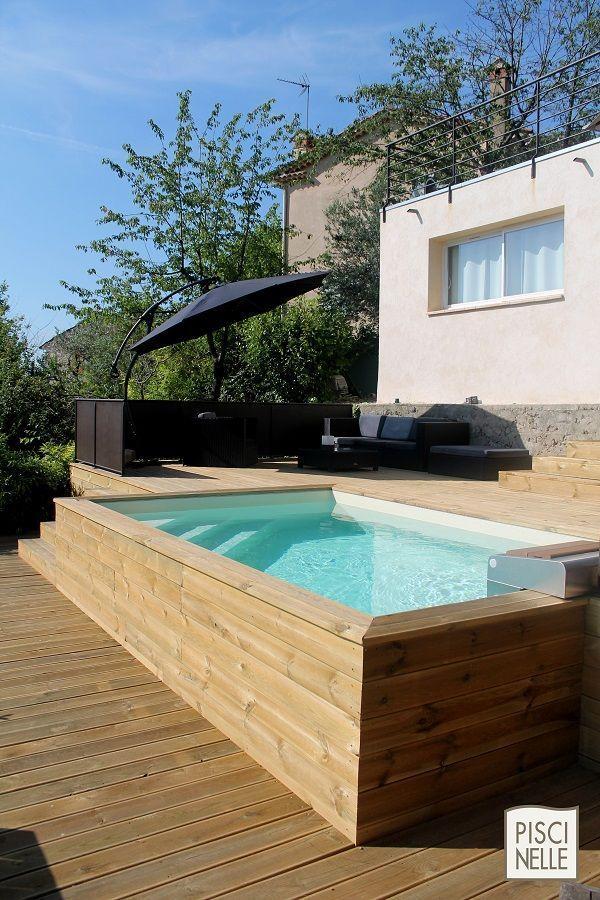 Ein oberirdischer Pool mit Holzverkleidung. Bewältigen Sie Feldstress und Ästhetik, #