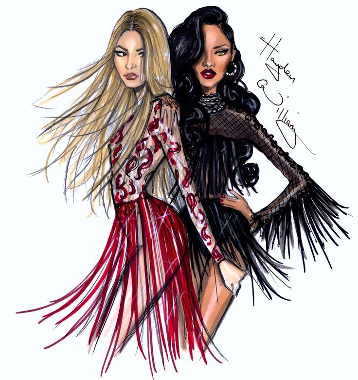 Hayden Williams Fashion Illustrations: Shakira ft Rihanna pt2 by Hayden Williams
