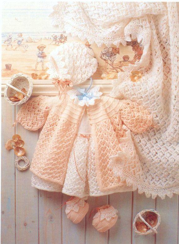 PDF Knitting Pattern 1420  Layette & Shawl by PrettyVintageKnits, £0.99
