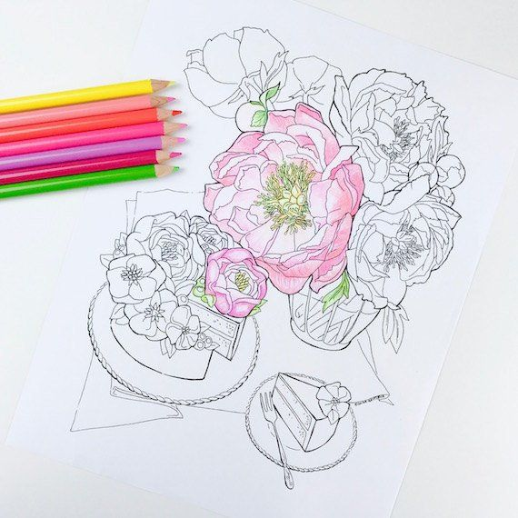 Adult Coloring Page Peony Flower Coloring Pages For Adults
