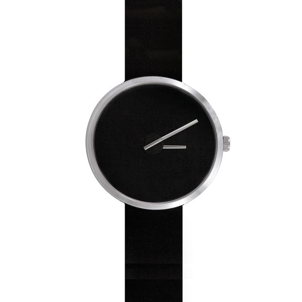 Sometimes watch in stainless steel with black strap designed by Denis Guidone for Projects. Available at Dezeen Watch Store: www.dezeenwatchstore.com #watches