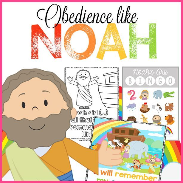 Obedience like Noah Bible Printables!  Free Christian Preschool Curriculum and resources for Children's Ministiry.  Noah's Ark Bible Coloring Pages, Scripture Memory Tools, BINGO and more!