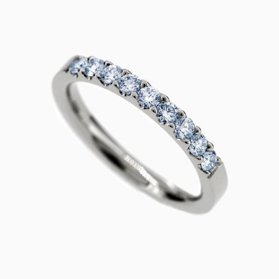 Crown Half Eternity Ring with Blue Diamonds