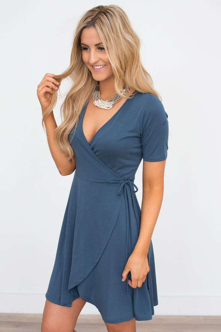 Solid Wrap Front Dress - Midnight Navy- Magnolia Boutique