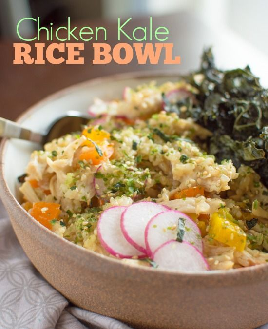 Chicken Kale Rice Bowl | Healthy Nibbles and Bits #glutenfree