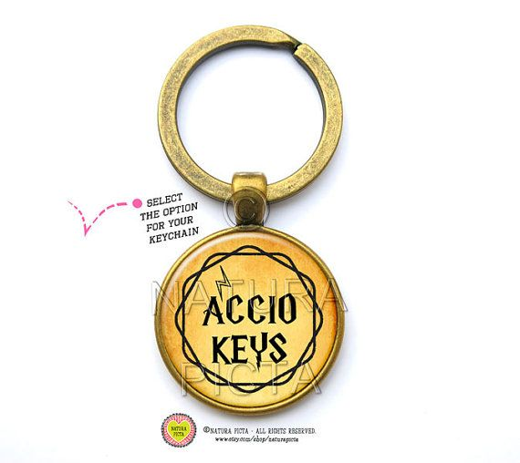 Accio keys quote keychain-Potter quote by naturapicta on Etsy