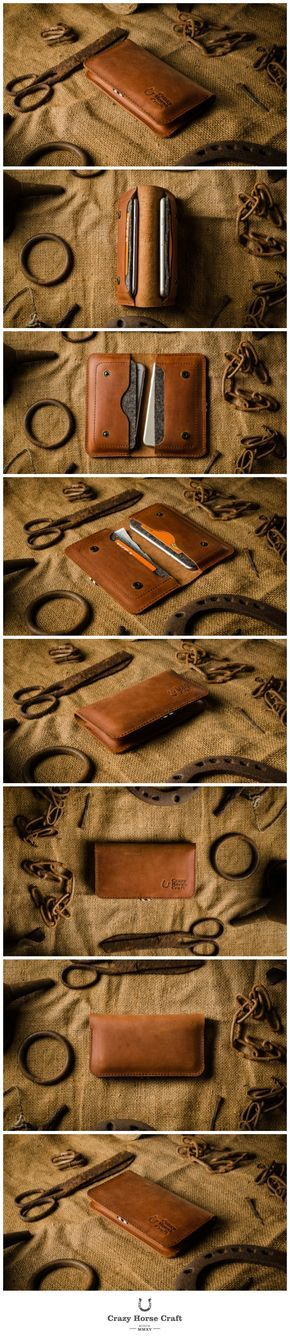 Leather Two iPhones Case / Wallet   Classic Orange