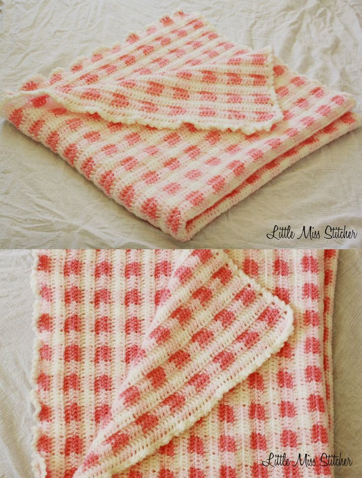 Little Miss Stitcher: Babys First Gingham Blanket Crochet Afghan Littl...
