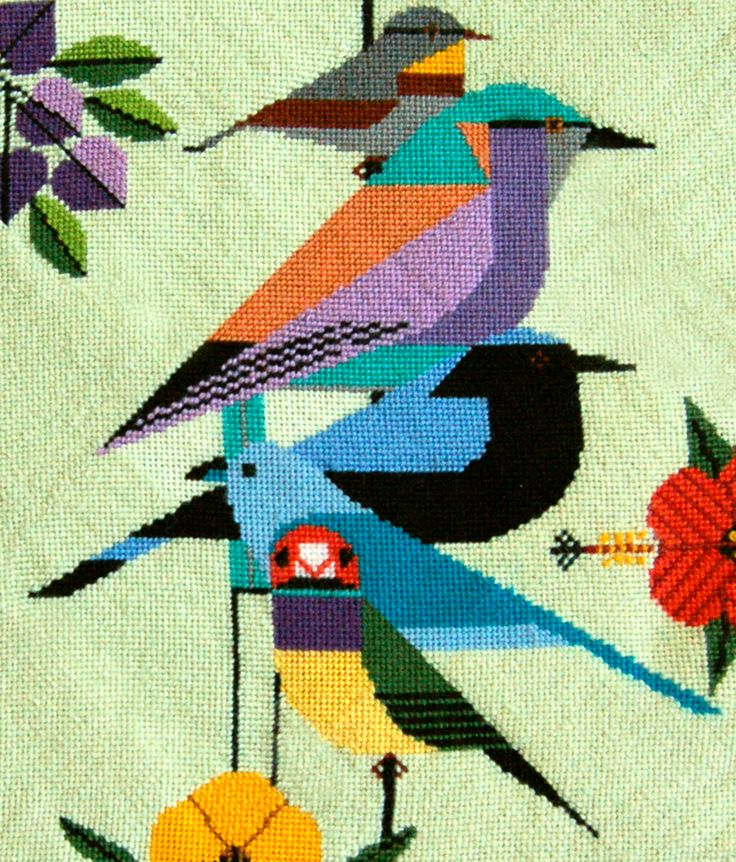 """Charley Harper - Rainforest Birds R120 from Treglown Designs: 13:1 mesh needlepoint handpainted canvas of Charley Harper's beloved print. 12 x 10"""" NEEDLEPOINT THREAD IS NOT INCLUDED $94.00"""