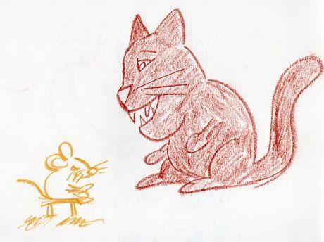 créature fantastique monstre chat et souris 1200