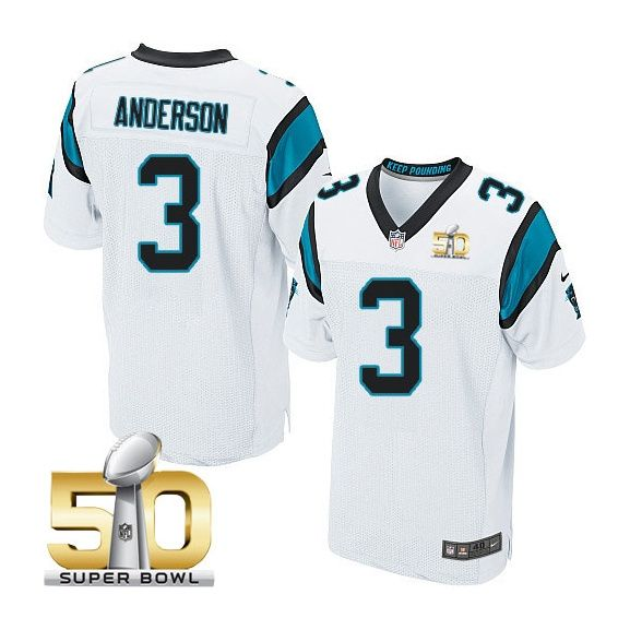 Men's NFL Carolina Panthers #3 Derek Anderson White 2016 Super Bowl 50 Elite Jersey