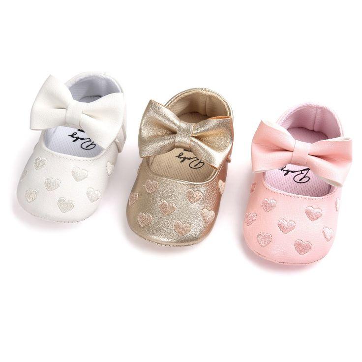 PU 가죽 신생아 여자 아기 공주 하트 모양의 메리제인 큰 활 Prewalkers 부드러운 바닥 신발 침대 베이브 발레 드레스 신발
