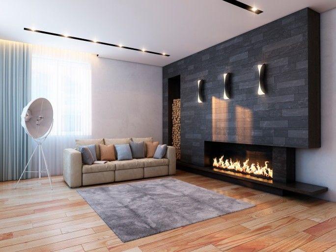 mitte jahrhundert moderne kamin mit dunklen surround - Steinplatte Kamin Surround