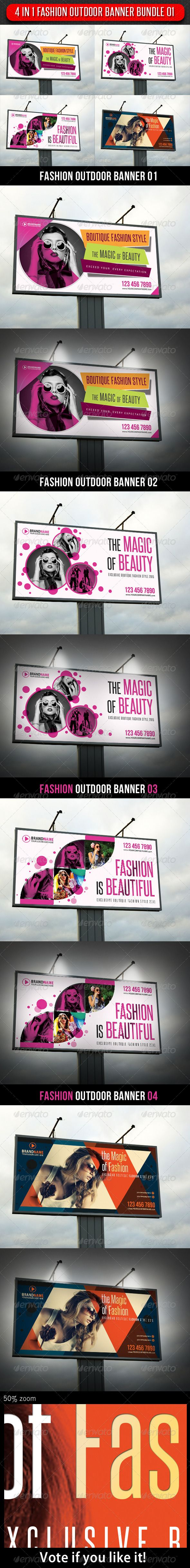 4 in 1 Fashion Outdoor Banner Bundle 01  #GraphicRiver         4 Highly editable PSD Outdoor Banners, very easily customise to make it your own in seconds!  The Pack included:   4 PSD files  High Quality and Details  Easy to Customise  CMYK, 150 dpi  120×60 in  Print: 122×62 in  Bleed 1 inch (all side)  18300×9300 px  Print Ready  Smart object placeholder  Editable shape Logo included  Preview Image not included  Read me file (included instrucions)   Fonts…