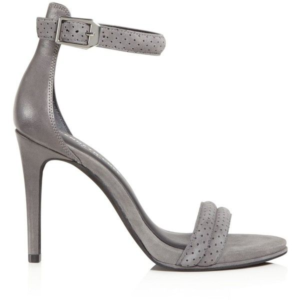 Kenneth Cole Brooke Brooke Perforated Suede High Heel Sandals ($140) ❤ liked on Polyvore featuring shoes, sandals, earl gray, kenneth cole, grey sandals, kenneth cole sandals, heeled sandals and kenneth cole shoes