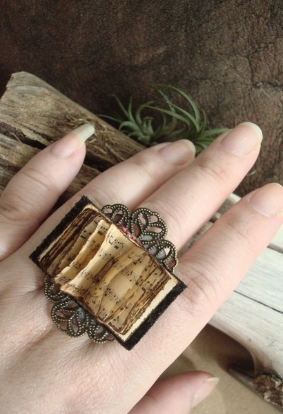 crumbsinthesand:    beautiful steampunk book ring. aside from her creepy singula…  – Ringe