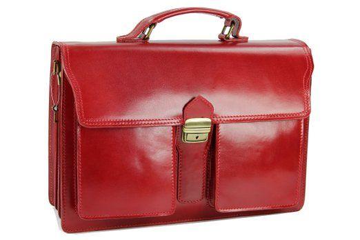 "BELLI® ""Design Bag B"" ital. Leder Businesstasche Aktentasche unisex bordeaux rot - 40x30x14 cm (B x H x T)"