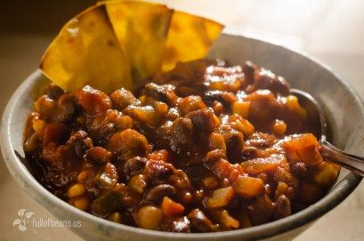 Vegan Chili Feature Closeup - Serving up the chili with some home-made chips