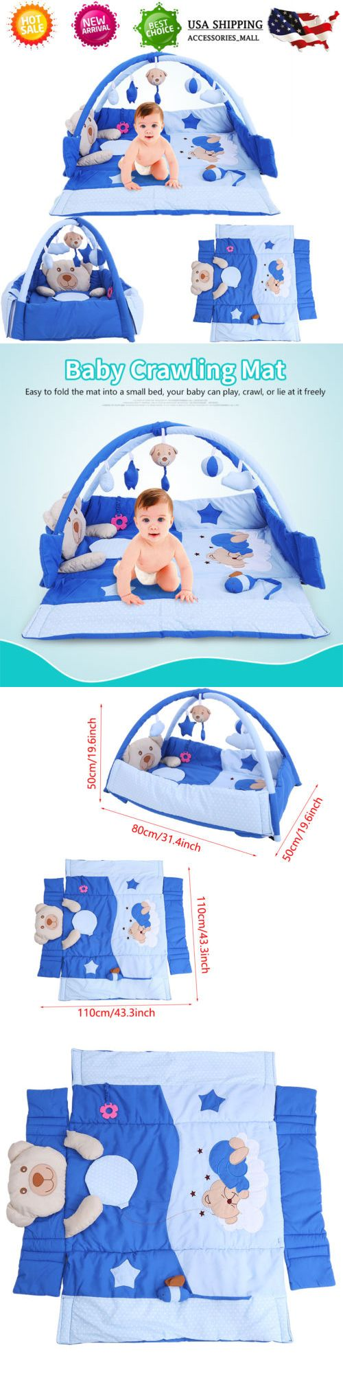 Baby Gyms and Play Mats 19069: Soft Cotton Baby Kids Game Gym Activity Play Mat Crawling Blanket Floor New -> BUY IT NOW ONLY: $42.25 on eBay!