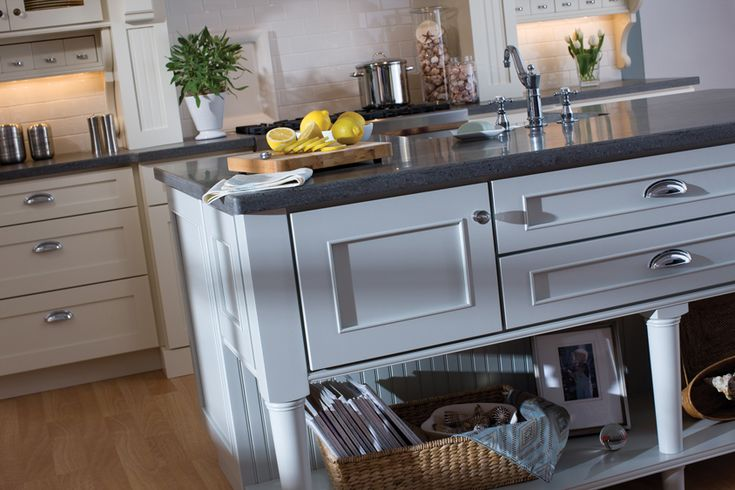 Next stop: Pinterest  White kitchen, gray counter, oak floor, mix n match cabinet styles