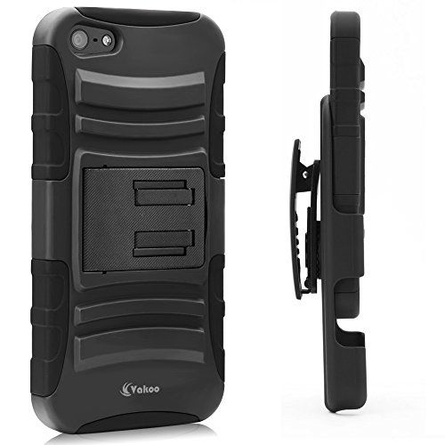#VAKOO Belt Clip Shockproof Rugged Case Cover for Apple iPhone 5S / iPhone 5: The case is composed of Two parts, the back cover (with stand) and a locking belt ...