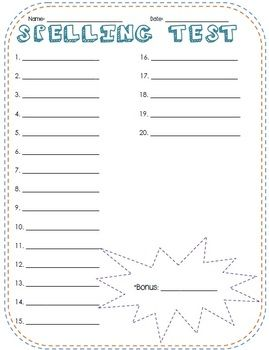 Fun Spelling Test Templates - for 10, 15, and 20 words + bonus ...