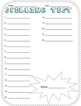 Free Printable Spelling Test Paper | Fun Spelling Test Template - Taylor Campbell - TeachersPayTeachers.com