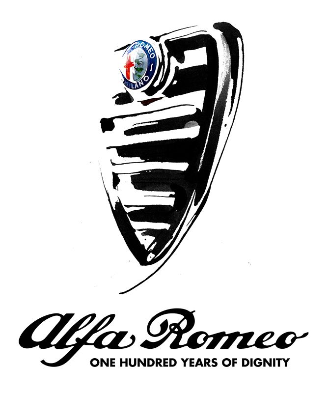 Alfa Romeo official art, black & white ink illustration by Eri Griffin.