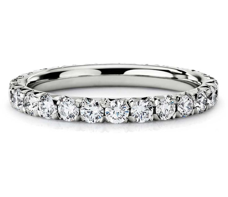 Blue Nile French Pavé Diamond Eternity Ring in Platinum  #wedding #ring