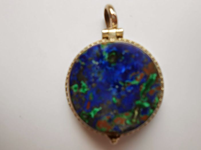 #Azurite and #Malachite #Locket of #Sterling #Silver #Filagree work done in #Bali , #Indonesia