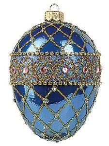 Blue Renaissance Faberge-Inspired Easter Egg Ornaments
