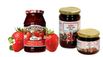 """Comparing the Nutritional Facts label between Serbia's Rose Hip jam and Canada's Smuckers jam appear almost the same.  The key differences are; in the serving size for 1 Tbsp, Potassium is not listed in Canada, Poly and Monounsaturated fats are not listed in Canada because trans fat and saturated fats weigh more on the total fat content, the Serbian label highlights the additional vitamin content, and the Serbian label highlights the """"calories from fat value""""."""