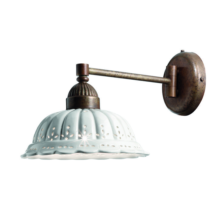This is an Italian Made Wall Light made from Solid Brass with a ceramic shade.  No rust!  This price range is higher, lookeng at $640 for this Italian Made wall light.