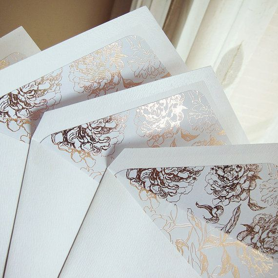 Rose Gold Foil Floral Envelope Liners by LittleBridgeDesign