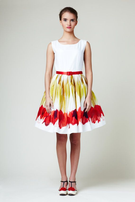 Red Tulips Dress by Mrs Pomeranz by mrspomeranz on Etsy, £339.00